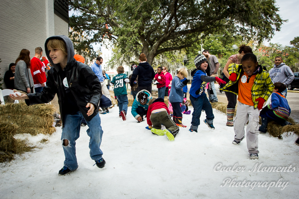 Bring the kids to play in the snow on Snow Day at the Festival of Trees in downtown on Sunday, December 4th. ESPB photo